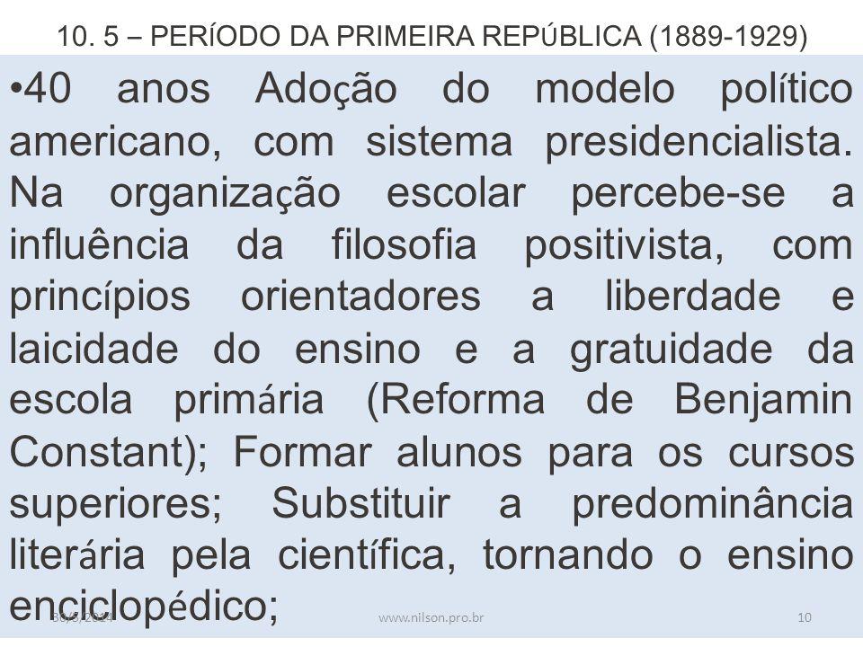 10. 5 – PERÍODO DA PRIMEIRA REPÚBLICA (1889-1929)