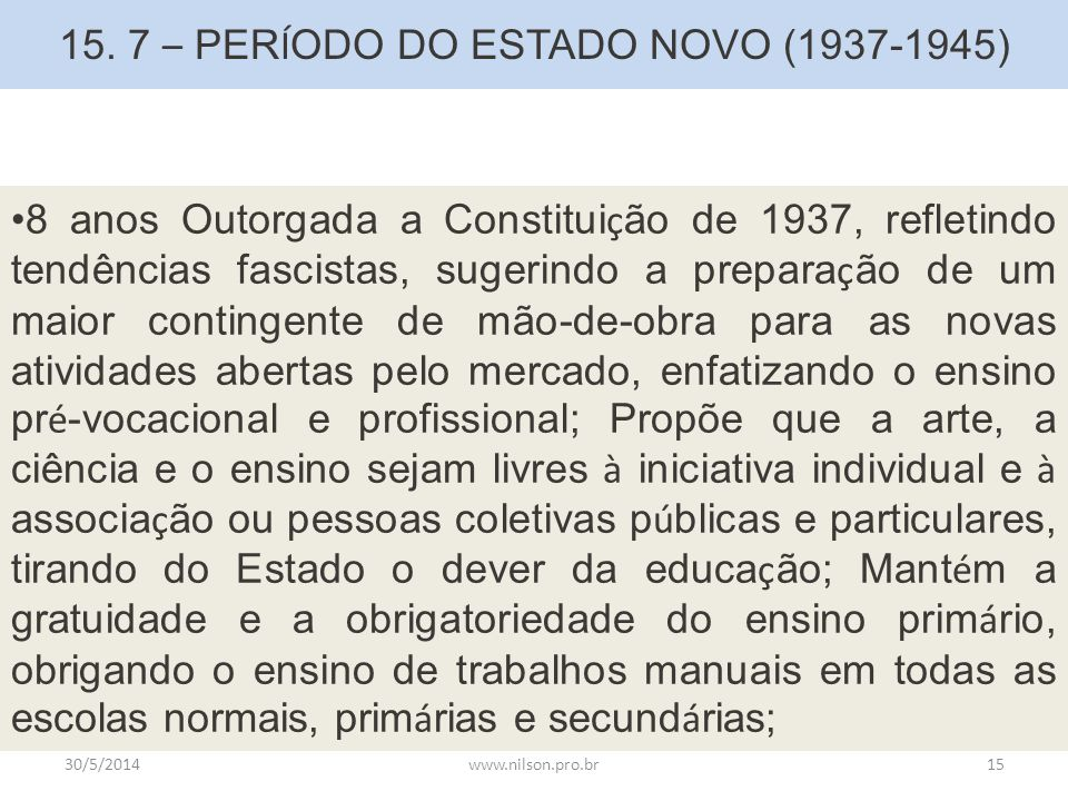 15. 7 – PERÍODO DO ESTADO NOVO (1937-1945)