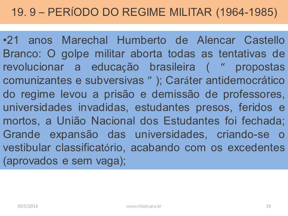 19. 9 – PERÍODO DO REGIME MILITAR (1964-1985)