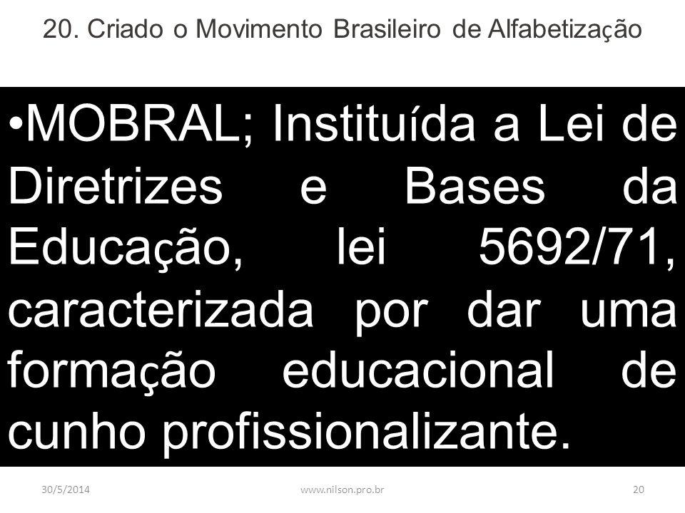 20. Criado o Movimento Brasileiro de Alfabetização
