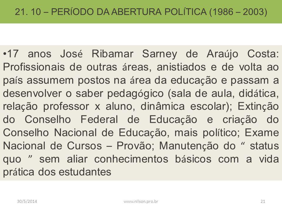 21. 10 – PERÍODO DA ABERTURA POLÍTICA (1986 – 2003)