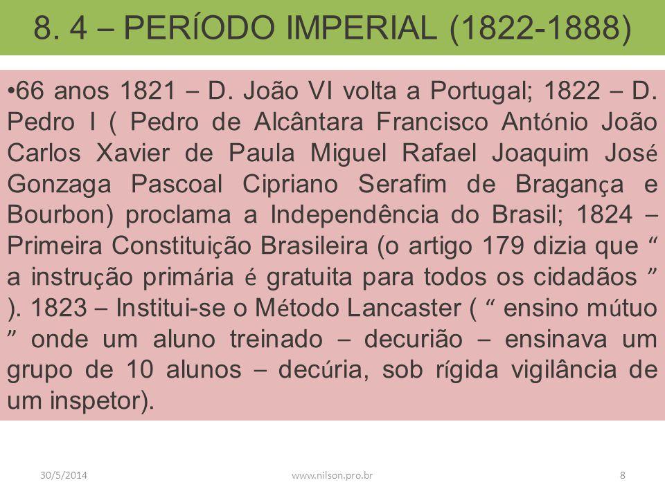 8. 4 – PERÍODO IMPERIAL (1822-1888)