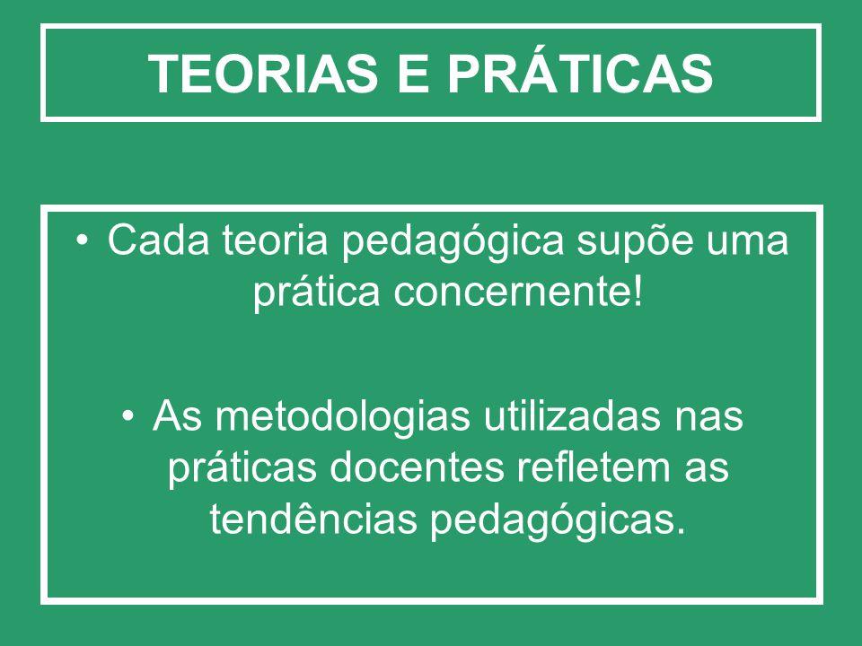 Cada teoria pedagógica supõe uma prática concernente!