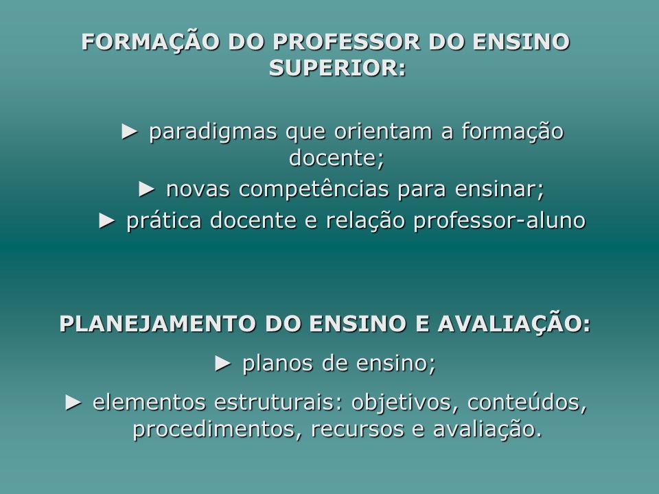 FORMAÇÃO DO PROFESSOR DO ENSINO SUPERIOR: