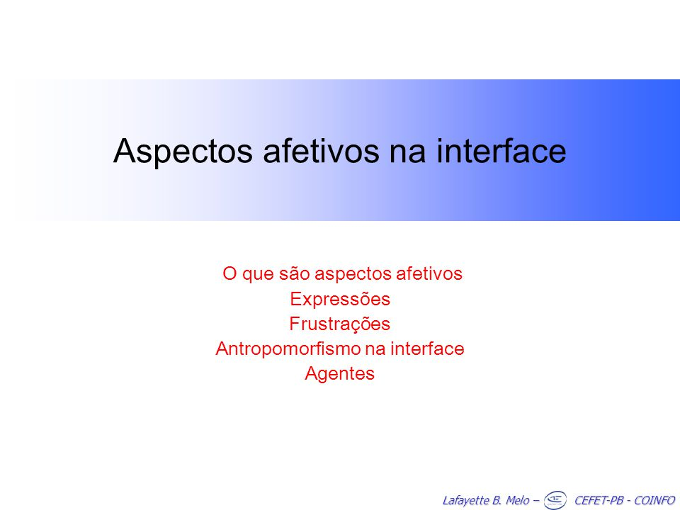 Aspectos afetivos na interface