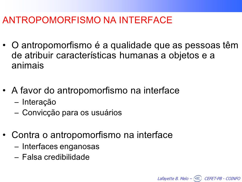 ANTROPOMORFISMO NA INTERFACE