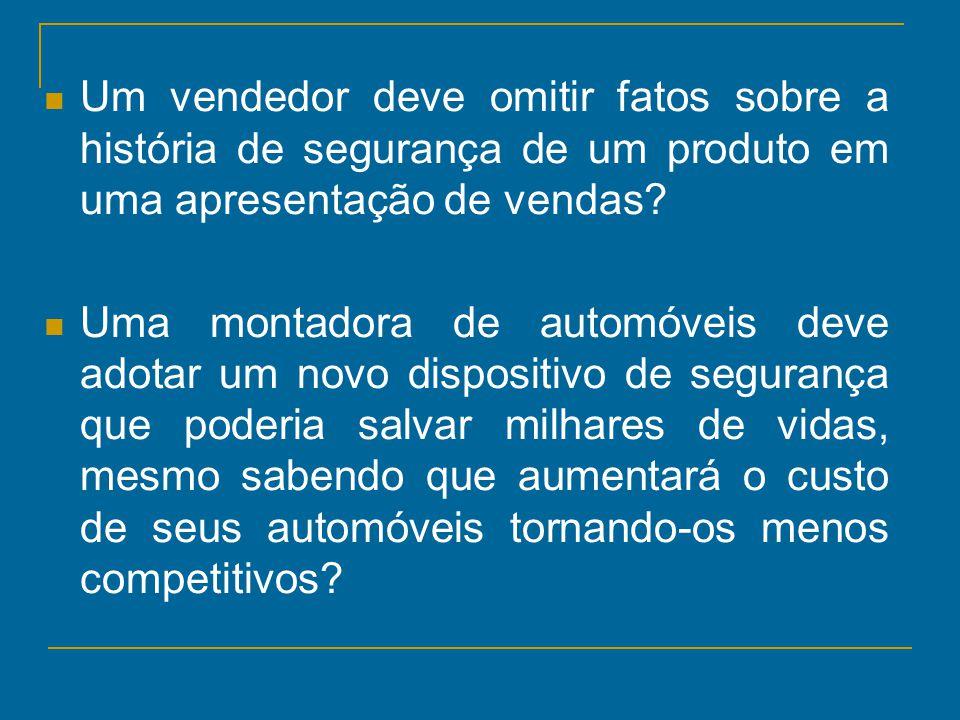 Um vendedor deve omitir fatos sobre a história de segurança de um produto em uma apresentação de vendas