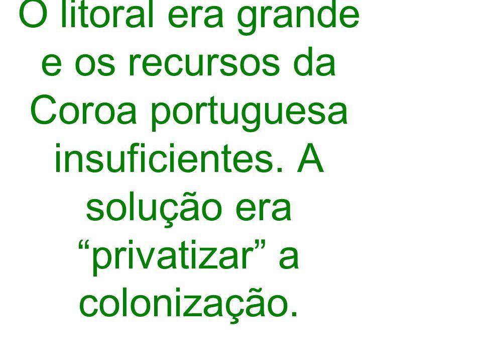 O litoral era grande e os recursos da Coroa portuguesa insuficientes