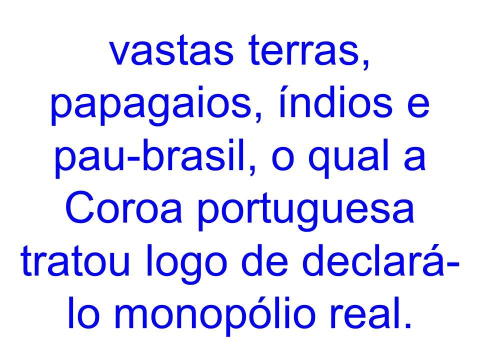 vastas terras, papagaios, índios e pau-brasil, o qual a Coroa portuguesa tratou logo de declará-lo monopólio real.