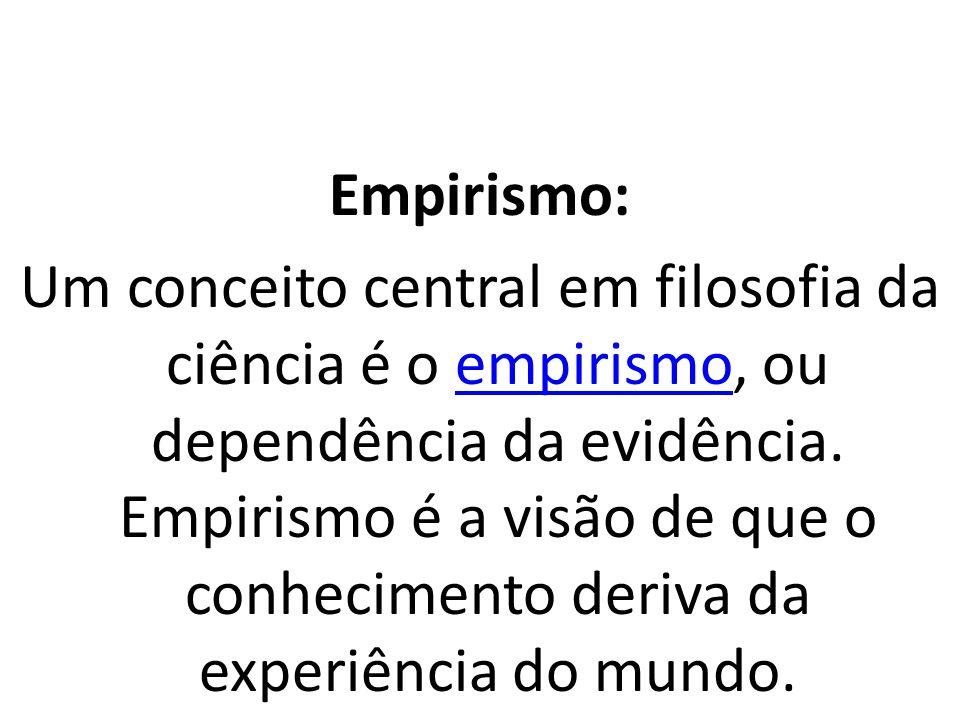 Empirismo: Um conceito central em filosofia da ciência é o empirismo, ou dependência da evidência.