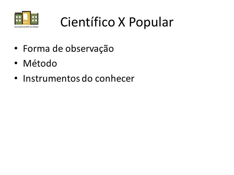 Científico X Popular Forma de observação Método