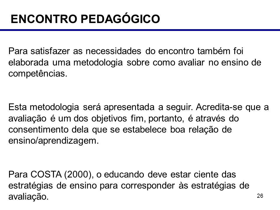 ENCONTRO PEDAGÓGICO Para satisfazer as necessidades do encontro também foi elaborada uma metodologia sobre como avaliar no ensino de competências.
