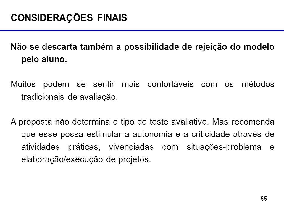CONSIDERAÇÕES FINAIS Não se descarta também a possibilidade de rejeição do modelo pelo aluno.