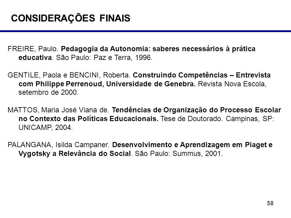CONSIDERAÇÕES FINAIS FREIRE, Paulo. Pedagogia da Autonomia: saberes necessários à prática educativa. São Paulo: Paz e Terra, 1996.