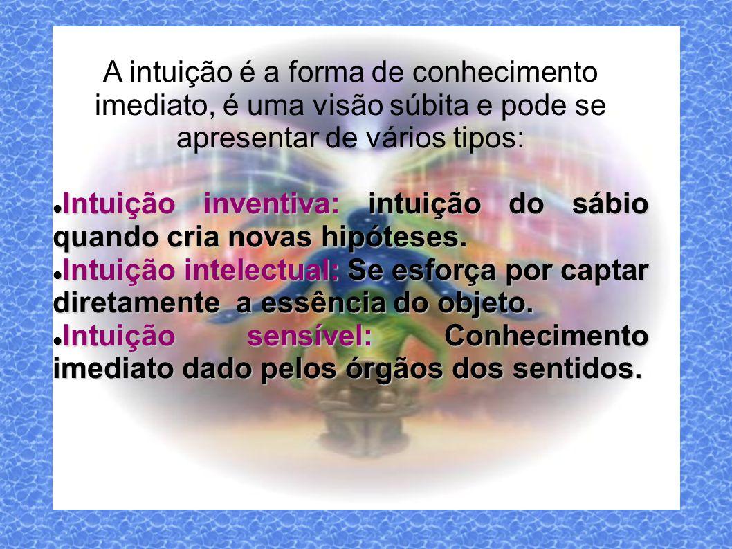 A intuição é a forma de conhecimento imediato, é uma visão súbita e pode se apresentar de vários tipos:
