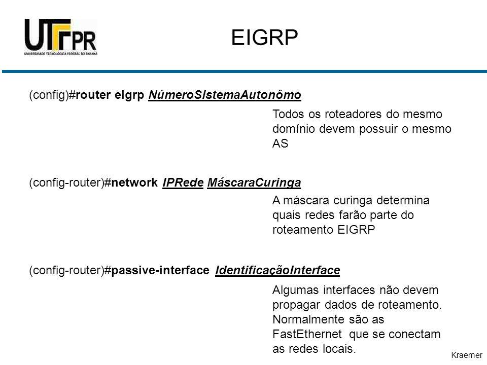 EIGRP (config)#router eigrp NúmeroSistemaAutonômo