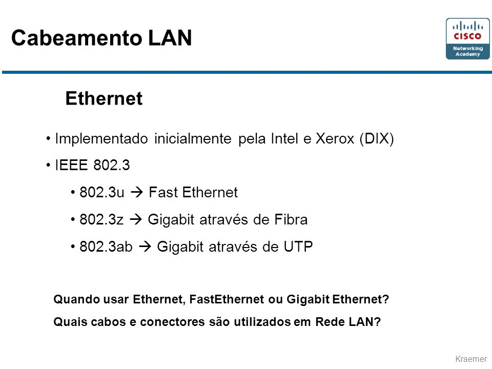 Cabeamento LAN Ethernet