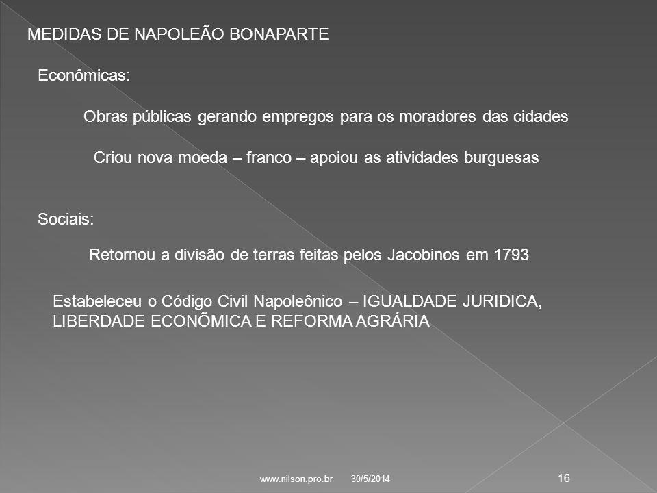 MEDIDAS DE NAPOLEÃO BONAPARTE
