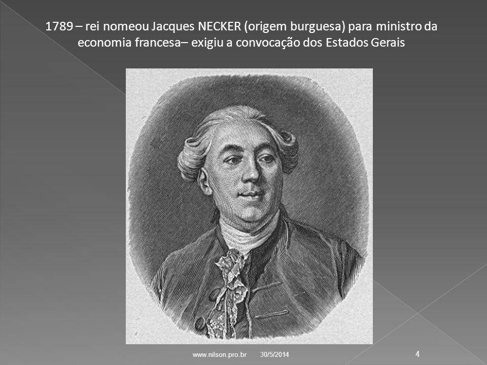 1789 – rei nomeou Jacques NECKER (origem burguesa) para ministro da economia francesa– exigiu a convocação dos Estados Gerais