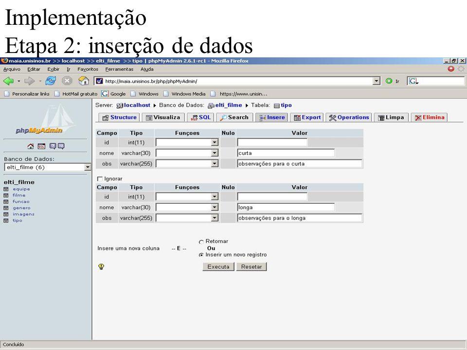 Implementação Etapa 2: inserção de dados