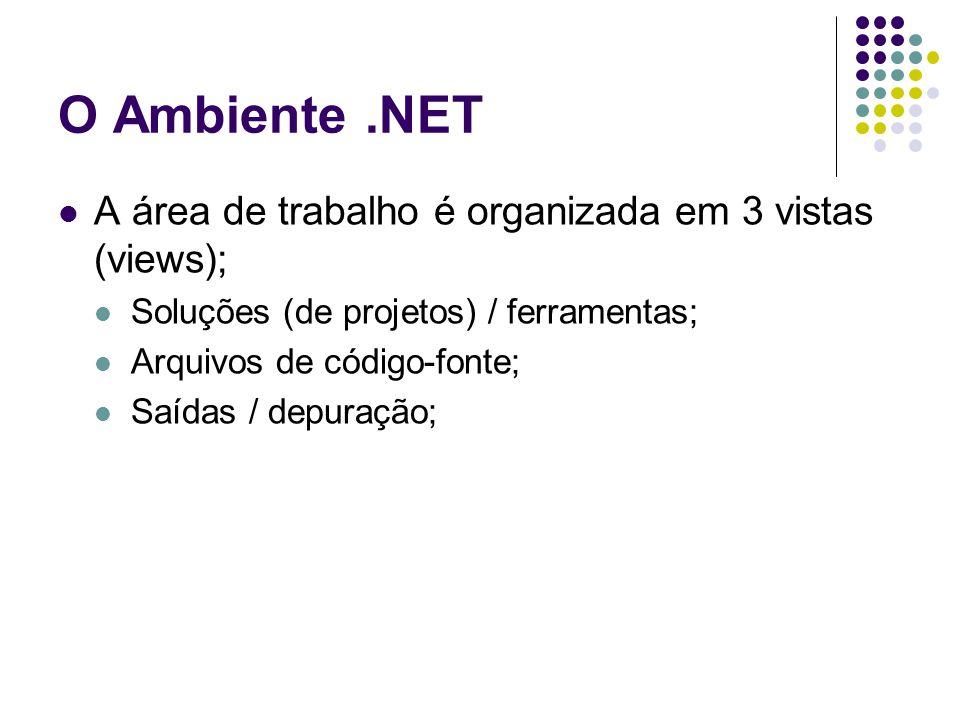 O Ambiente .NET A área de trabalho é organizada em 3 vistas (views);
