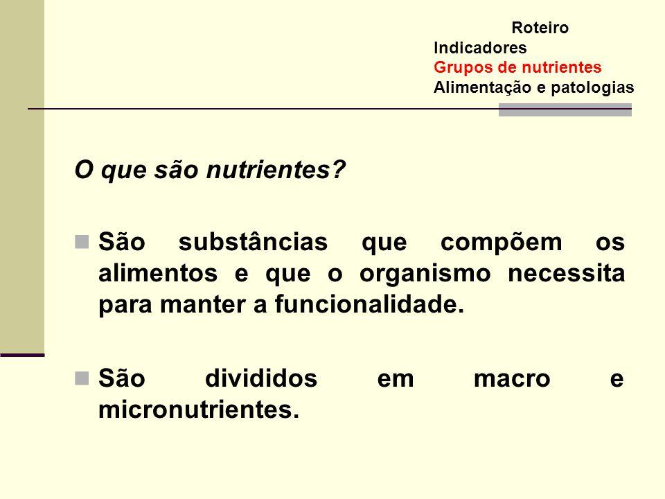 São divididos em macro e micronutrientes.
