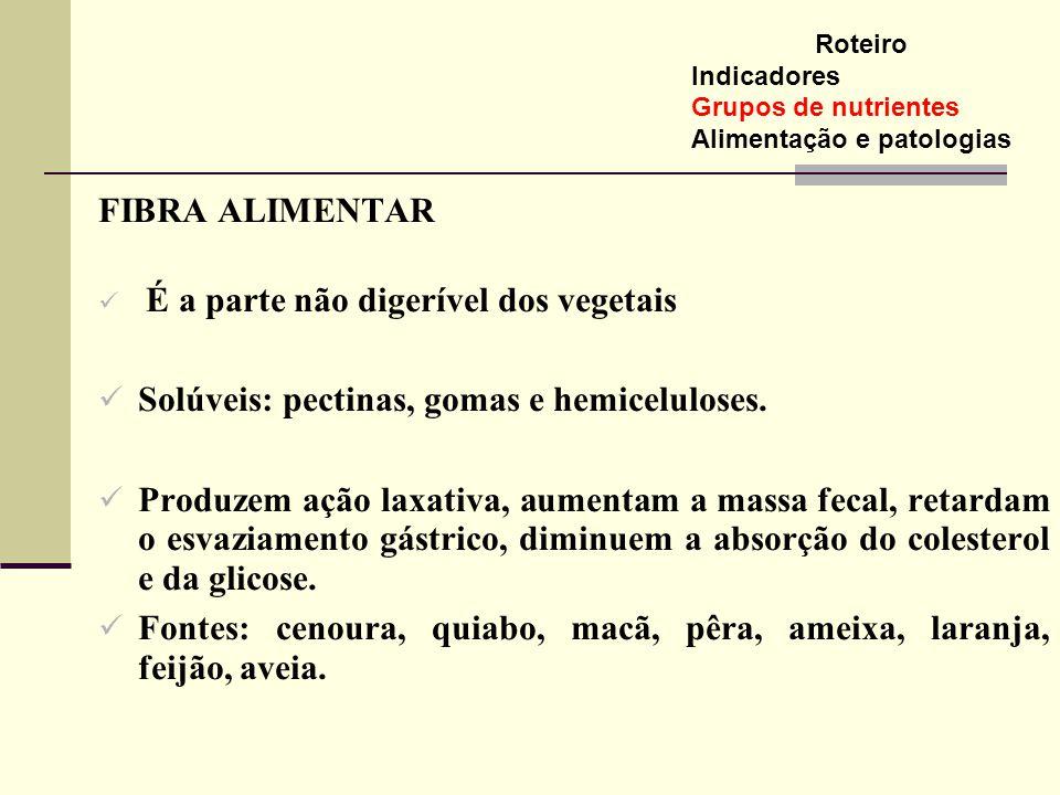Solúveis: pectinas, gomas e hemiceluloses.