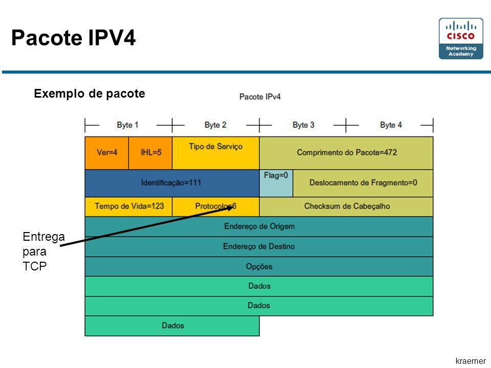 Pacote IPV4 Exemplo de pacote Entrega para TCP