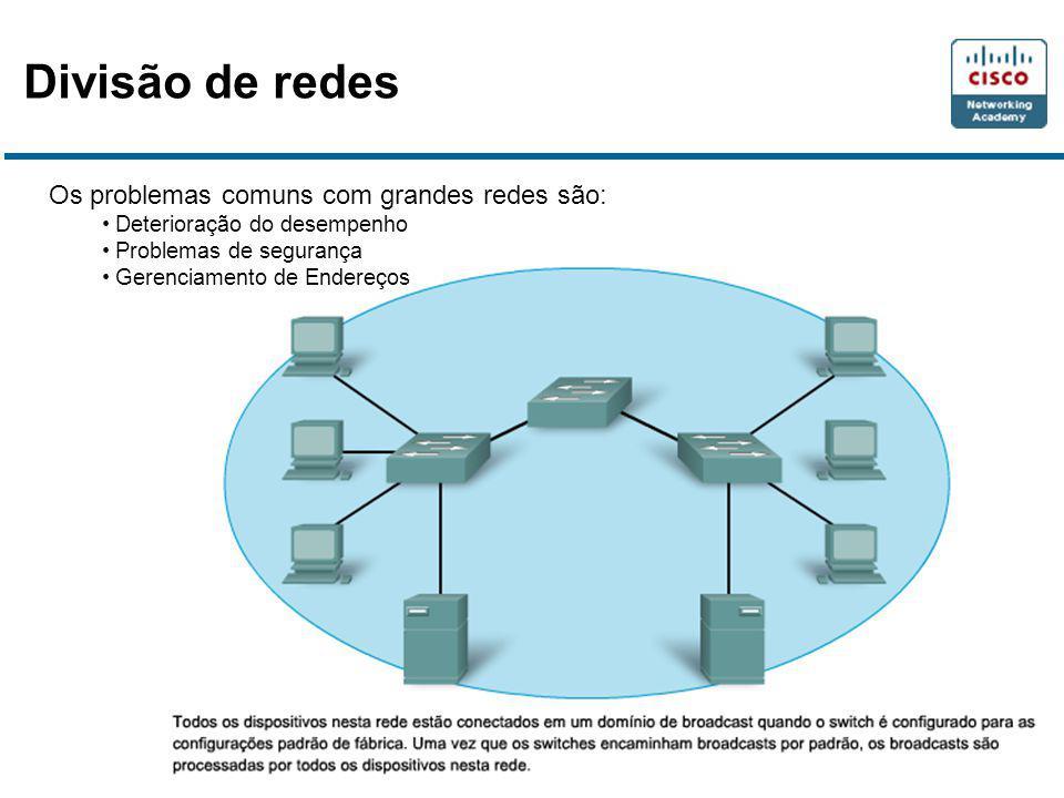Divisão de redes Os problemas comuns com grandes redes são:
