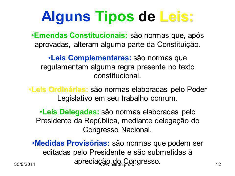 Alguns Tipos de Leis: Emendas Constitucionais: são normas que, após aprovadas, alteram alguma parte da Constituição.