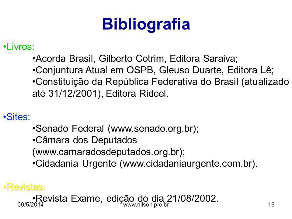 Bibliografia Livros: Acorda Brasil, Gilberto Cotrim, Editora Saraiva;