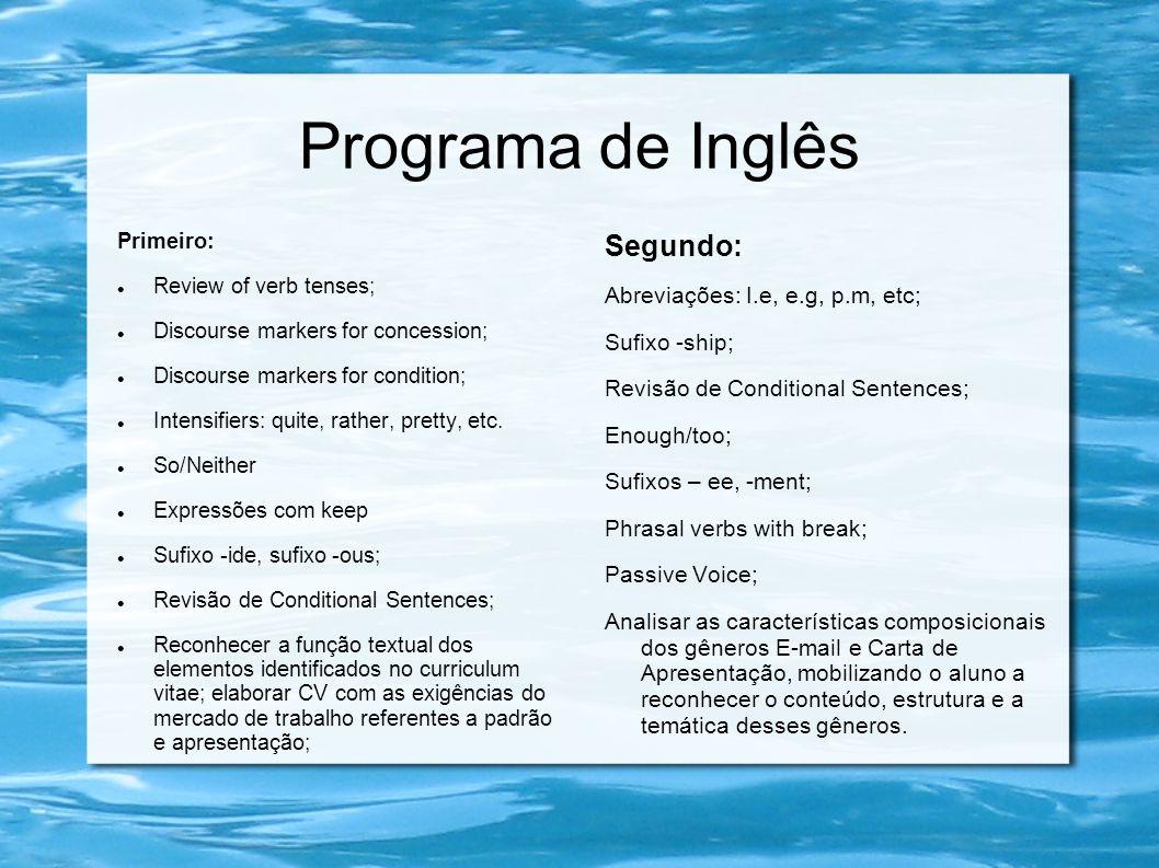 Programa de Inglês Segundo: Abreviações: I.e, e.g, p.m, etc;