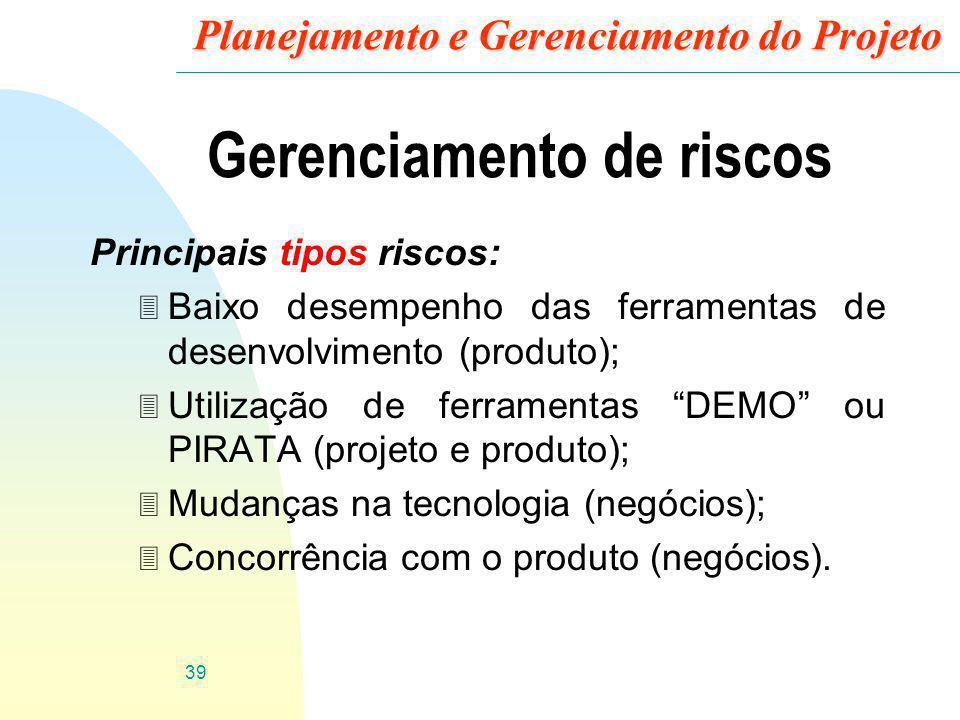 Planejamento e Gerenciamento do Projeto