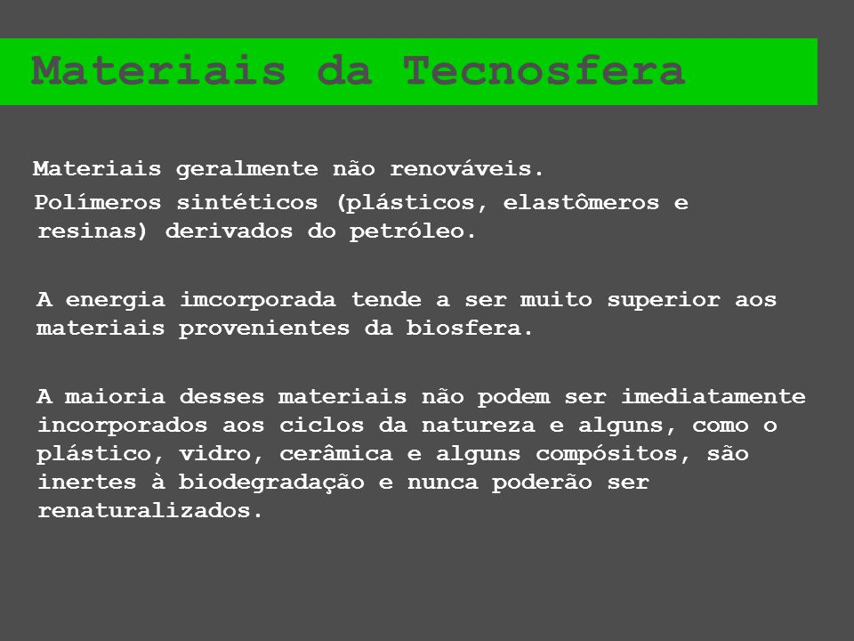 Materiais da Tecnosfera