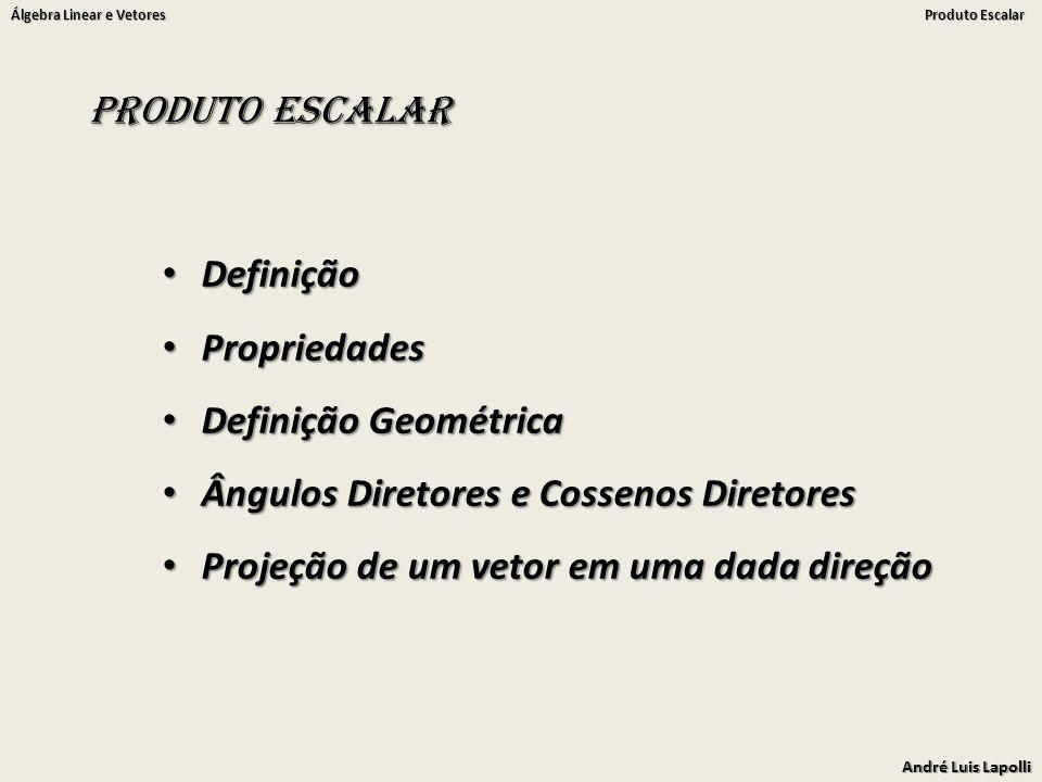 Produto Escalar Definição. Propriedades. Definição Geométrica. Ângulos Diretores e Cossenos Diretores.
