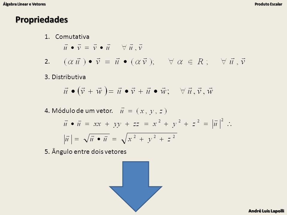Propriedades Comutativa 2. 3. Distributiva 4. Módulo de um vetor.