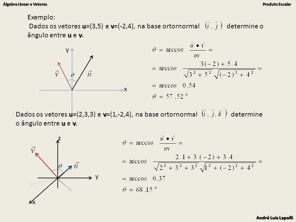 Exemplo: Dados os vetores u=(3,5) e v=(-2,4), na base ortornormal determine o ângulo entre u e v.