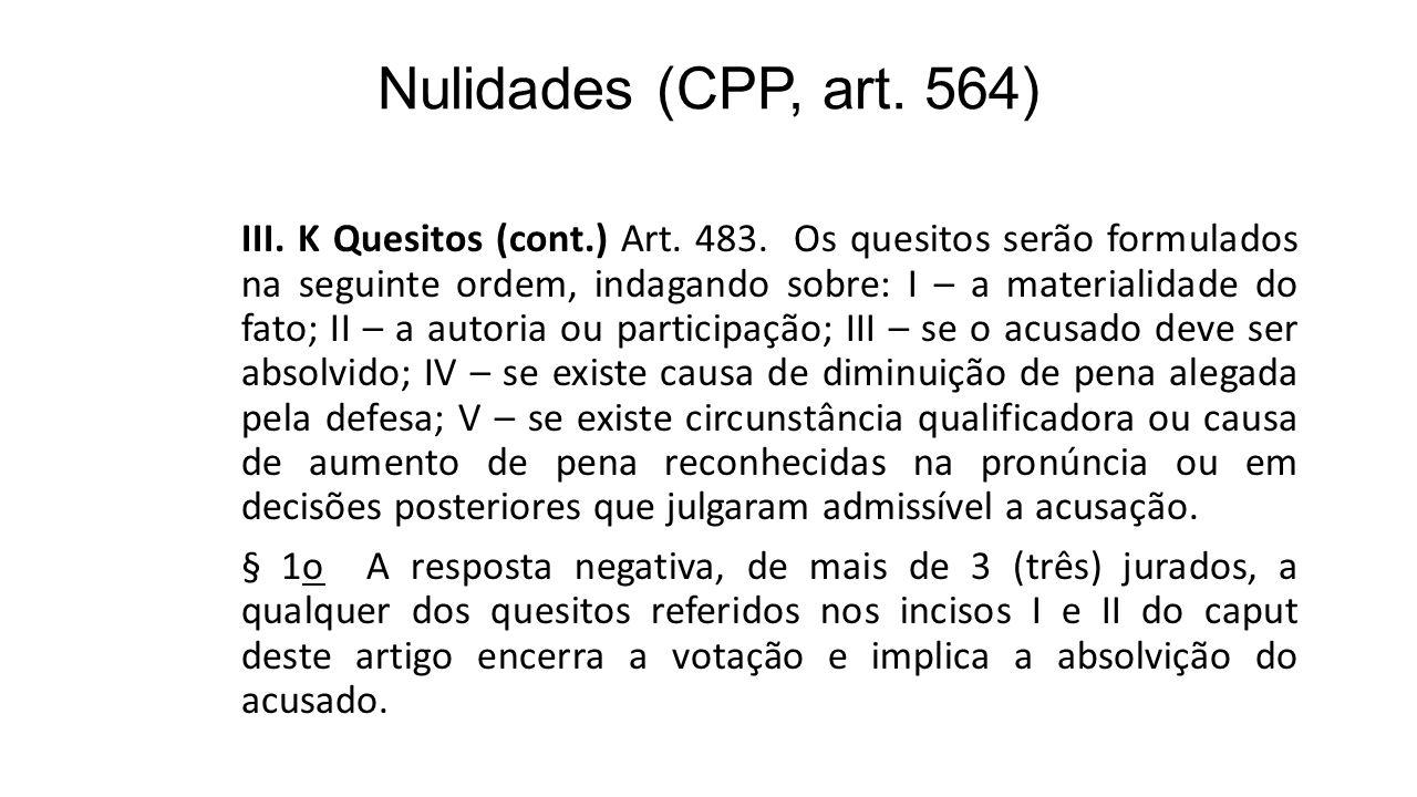 Nulidades (CPP, art. 564)