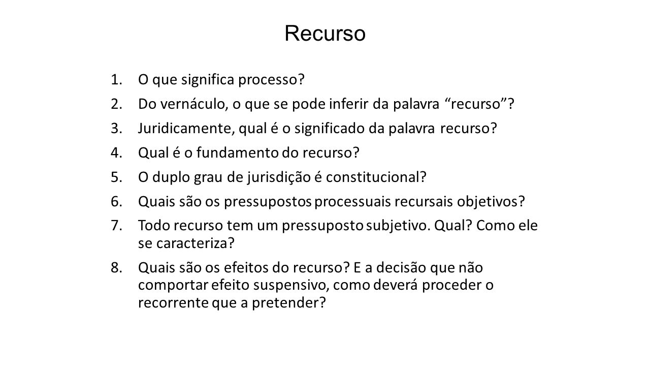 Recurso O que significa processo