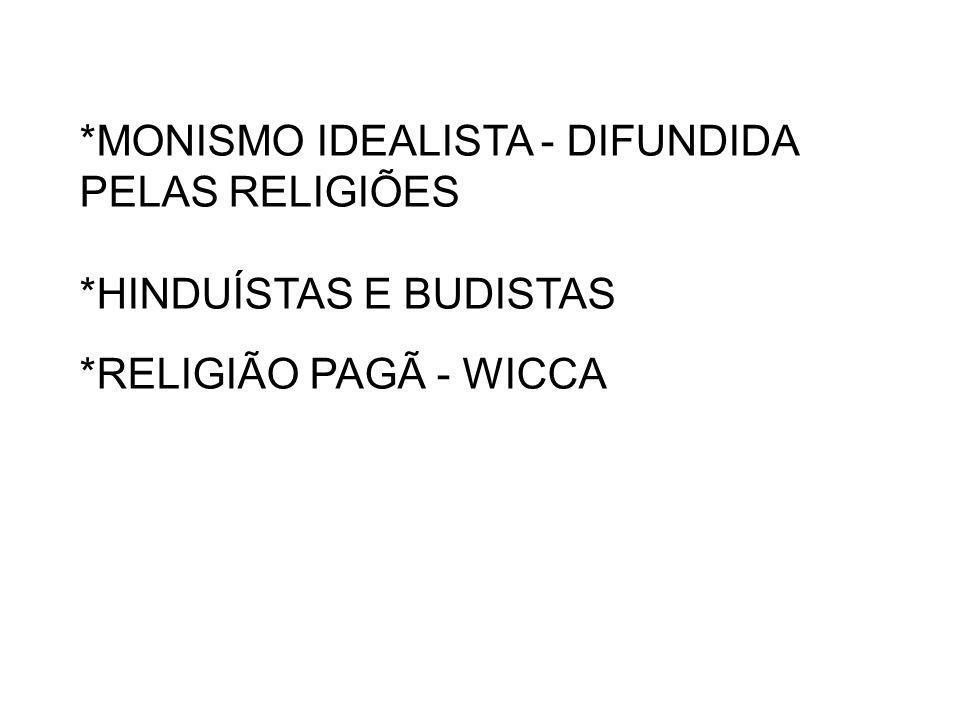 *MONISMO IDEALISTA - DIFUNDIDA PELAS RELIGIÕES