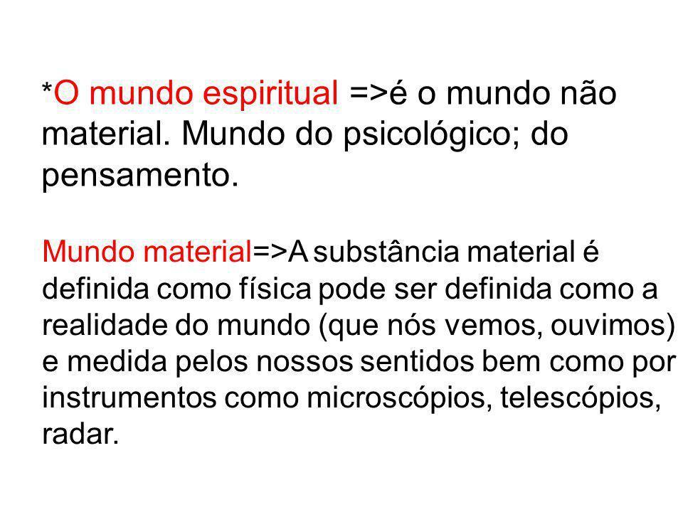 O mundo espiritual =>é o mundo não material