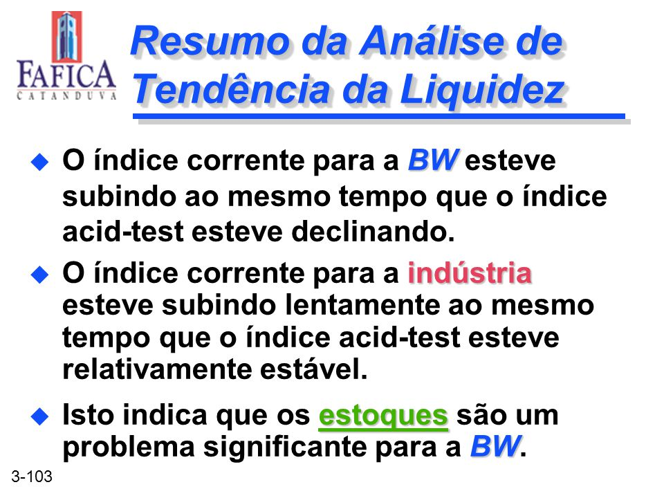 Resumo da Análise de Tendência da Liquidez