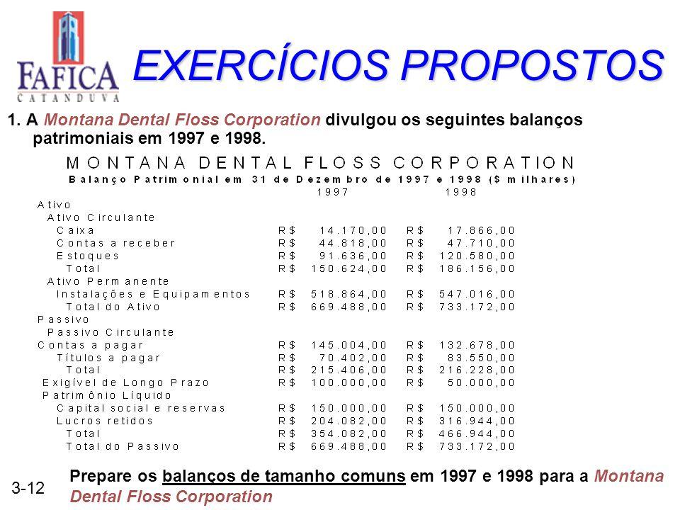 EXERCÍCIOS PROPOSTOS 1. A Montana Dental Floss Corporation divulgou os seguintes balanços patrimoniais em 1997 e 1998.