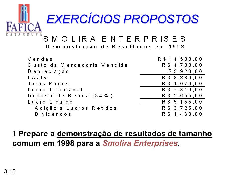 EXERCÍCIOS PROPOSTOS 1 Prepare a demonstração de resultados de tamanho comum em 1998 para a Smolira Enterprises.