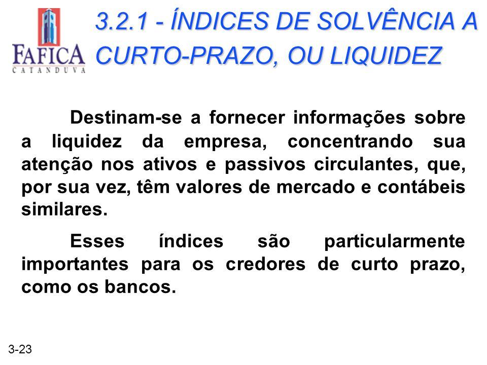 3.2.1 - ÍNDICES DE SOLVÊNCIA A CURTO-PRAZO, OU LIQUIDEZ
