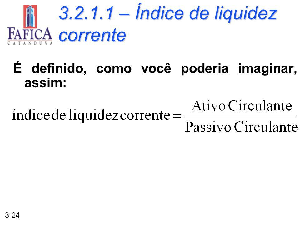 3.2.1.1 – Índice de liquidez corrente