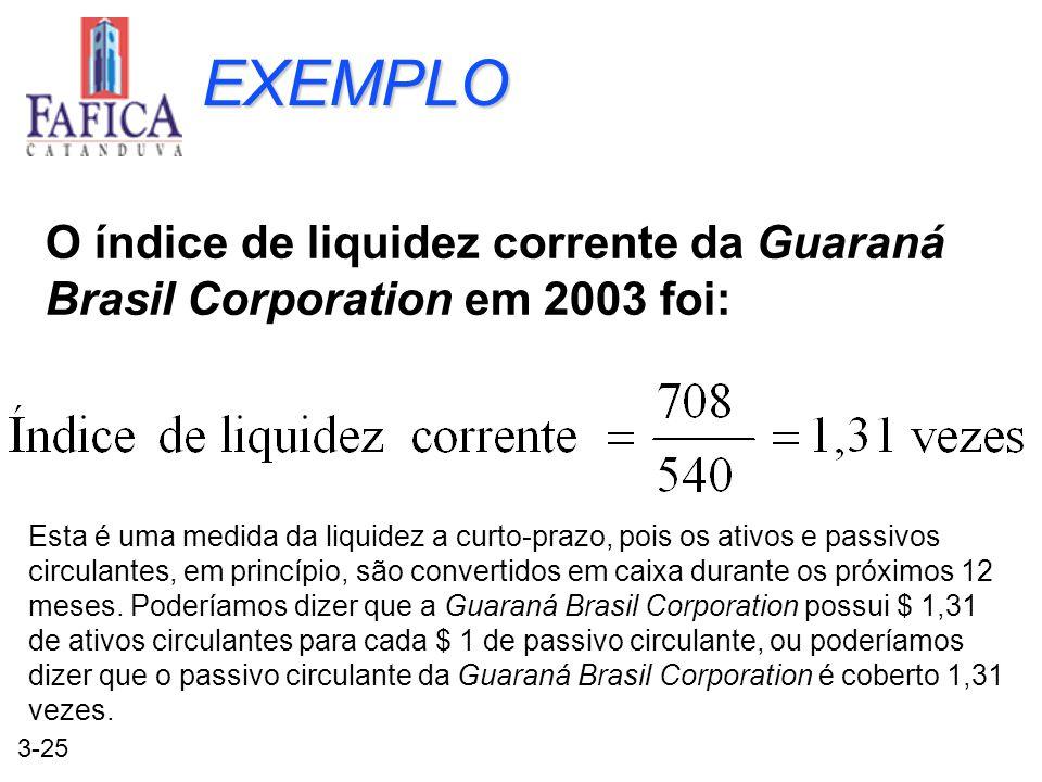 EXEMPLO O índice de liquidez corrente da Guaraná Brasil Corporation em 2003 foi: