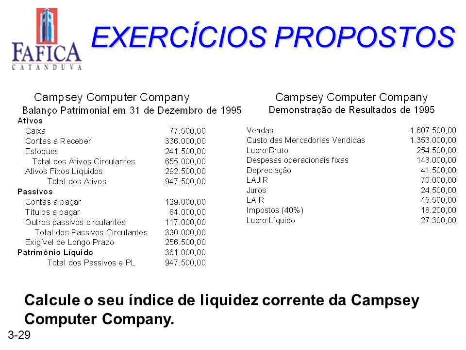 EXERCÍCIOS PROPOSTOS Calcule o seu índice de liquidez corrente da Campsey Computer Company.