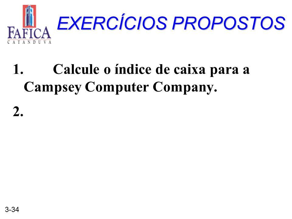 EXERCÍCIOS PROPOSTOS 1. Calcule o índice de caixa para a Campsey Computer Company. 2.