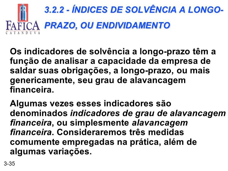 3.2.2 - ÍNDICES DE SOLVÊNCIA A LONGO-PRAZO, OU ENDIVIDAMENTO